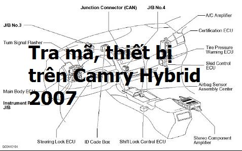 Bài 1: Tra mã, vị trí thiết bị trên xe Camry Hybrid 2007
